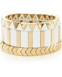 Roxanne Assoulin - Set-of-three Gilded Mixed Bracelets - Lyst