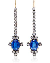 Montse Esteve | 18k Gold, Kyanite And Diamond Earrings | Lyst