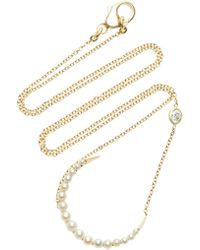 Renee Lewis - 18k Gold Diamond, Pearl Necklace - Lyst