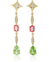 Jordan Alexander - 18k Gold, Diamond, And Tourmaline Earrings - Lyst