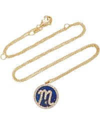 Names by Noush - Treasure Disk Roman Initial Necklace With Lapis Lazuli Gemstone - Lyst