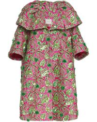 Delpozo - Embroidered Tropical Jacquard Coat - Lyst