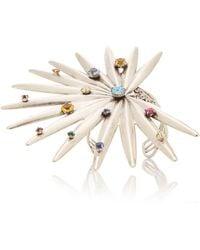 Rodarte - Silver Palm Wrist Cuff With Swarovski Crystals - Lyst