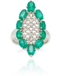 Sutra - White Gold Emerald And Diamond Ring - Lyst