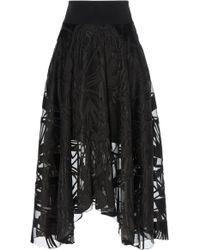 Akris - Sheer Embordered Voile Skirt - Lyst