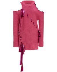 Prabal Gurung - Ribbon Stitch Cold Shoulder Pullover - Lyst