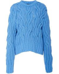 Cedric Charlier - Cable Knit Wool-blend Sweater - Lyst