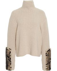 Sally Lapointe Mink Fur-trimmed Wool-cashmere Turtleneck - Natural