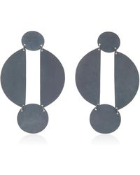 Annie Costello Brown - Split Circle Oxidized Brass Earrings - Lyst