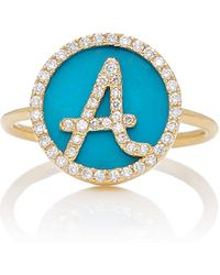 Names by Noush - Treasure Disk Roman Initial Ring With Turquoise Gemstone - Lyst