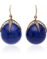 Sylva & Cie | Starlight 14k Gold, Diamond And Lapis Earrings | Lyst