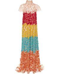 Carolina Herrera - High-neck Color-blocked Gown - Lyst