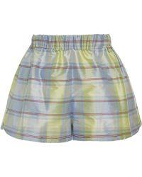 Markarian - Exclusive Plaid Printed Silk Shorts - Lyst