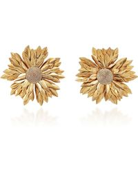 Rebecca de Ravenel - Metal Petal Flower Earrings - Lyst