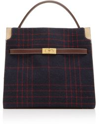 735c691a917d Tory Burch - Lee Radziwill Deconstructed Plaid Wool-blend Satchel - Lyst