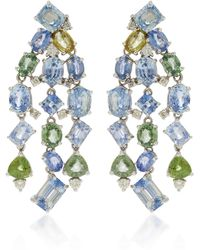 Gioia - 18k White Gold And Sapphire Chandelier Earrings - Lyst