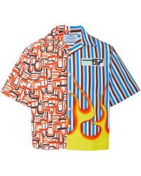 Prada - Retro Printed Cotton-poplin Shirt - Lyst