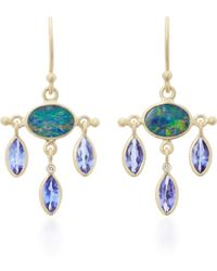 Kothari - 18k Gold, Opal, Tanzanite And Diamond Earrings - Lyst