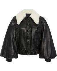 Rodarte - Leather Balloon Sleeve Jacket - Lyst