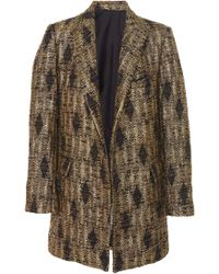 J. Mendel - Collared Metallic Tweed Coat - Lyst