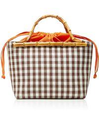 Glorinha Paranagua - Monte Carlo Small Checked Cotton Basket Bag - Lyst