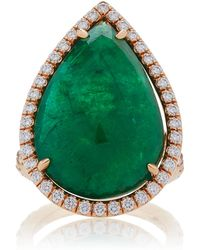 Nina Runsdorf | 18k Rose Gold Rose Cut Emerald Ring | Lyst