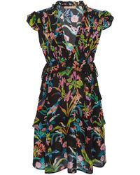 Banjanan - Chandra Floral Silk Crepe Midi Dress - Lyst