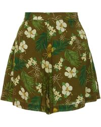 Miguelina - Axa Floral-print Voile Shorts - Lyst