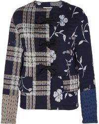 b7ac5bda3 Oscar de la Renta - Bow-accented Patchwork Cotton Jacket - Lyst