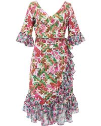 All Things Mochi - Philippa Ruffled Printed Linen Wrap Dress - Lyst