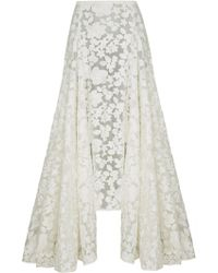 Razan Alazzouni - Floral Embroidered High Low Skirt - Lyst
