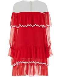 Yanina Demi Couture - Pleated Layered Mini Dress With Scattered Paillettes - Lyst