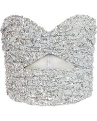 Attico - Strapless Cutout Sequined Top - Lyst