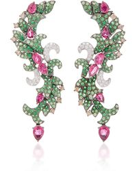 Wendy Yue - Tsavorite Curved Drop Earrings - Lyst