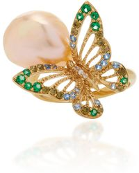 Anabela Chan - M'o Exclusive Gold Butterfly Pearl Ring - Lyst
