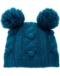 Anna Sui - James Coviello For Bobble & Cable Knit Hat - Lyst