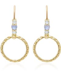 Daria de Koning Small Orbit 18k Gold Multi-stone Hoop Drop Earrings