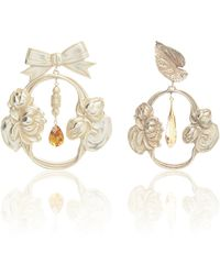 Rodarte - Silver Bow And Leaf Baroque Earrings With Swarovski Crystal Details - Lyst