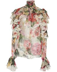 Dolce & Gabbana - Ruffled Lace-trimmed Floral Silk-georgette Blouse - Lyst