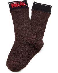 Prada - Logo Lurex Socks - Lyst