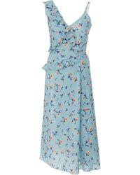 Ermanno Scervino - Floral-print Asymmetric Silk-crepe Midi Dress - Lyst