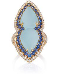 Sara Weinstock - 18k Gold, Aquamarine, Sapphire And Diamond Ring - Lyst