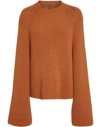 Rosetta Getty - Cropped Rib Knit Flared Sweater - Lyst