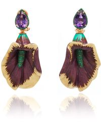 Silvia Furmanovich - Sculptural Botanical Marquetry Lily Earrings - Lyst