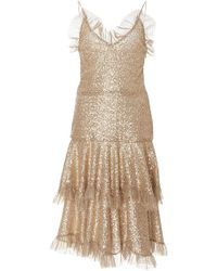 Rodarte | Metallic Ruffled Lace Dress | Lyst