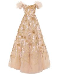 Marchesa - Off Shoulder Ostrich Feather Embroidered Ball Gown - Lyst