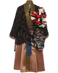 Rianna + Nina - Exclusive Floral-appliquéd Lace And Silk-satin Coat - Lyst
