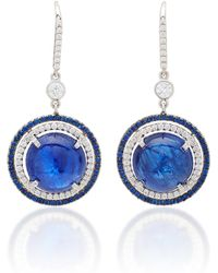 "Martin Katz - One-of-a-kind Round Cabochon ""intense"" Blue Sapphire Earrings - Lyst"