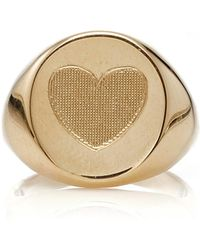 Emily & Ashley   Yellow Gold Heart Signet Pinky Ring   Lyst