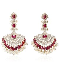 Sanjay Kasliwal | Pearl And Ruby Chandelier Earrings | Lyst